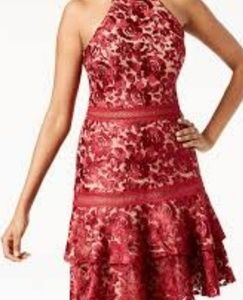 Red lace halter dress.